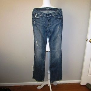 7 For All Mankind Boot Cut Distressed Jeans